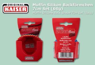6.490 pcs. KAISER Muffin Silicone Back Shape 7cm Set (6pcs)